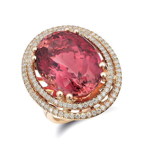 14k Rose Gold 22.92ct TGW Pink Tourmaline and White Diamond Ring