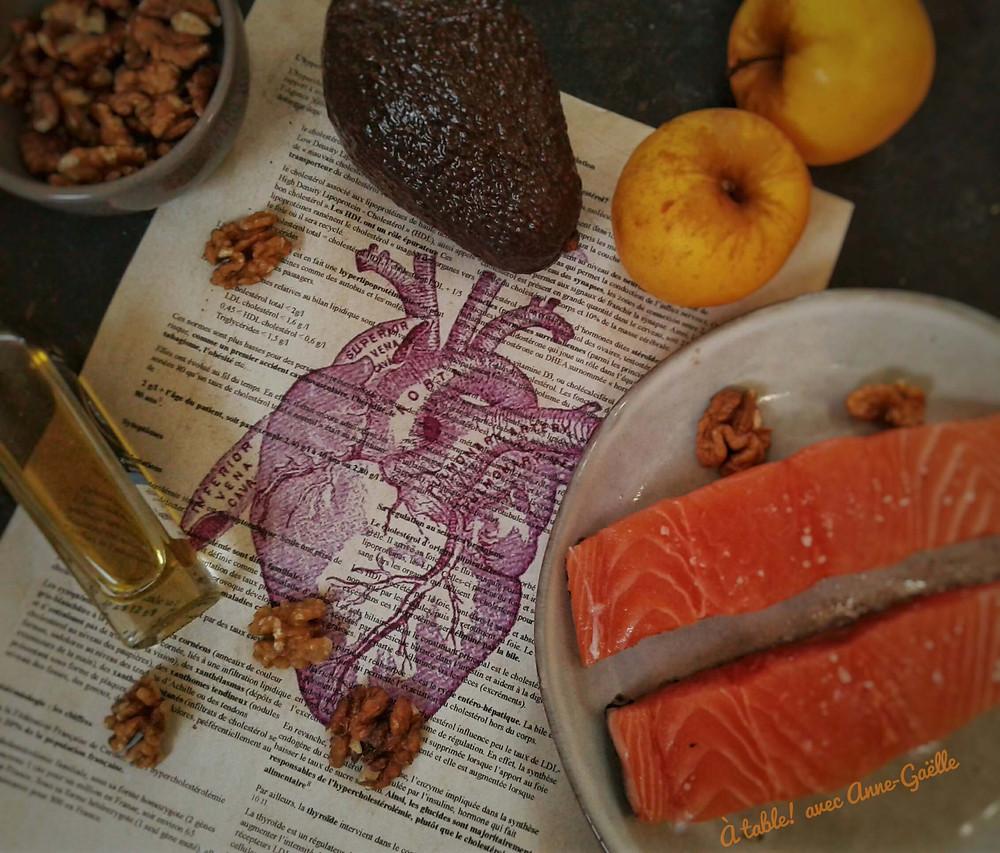 Dessin anatomique d'un cœur et divers aliments bons aidant à lutter contre l'hypercholestérolémie.