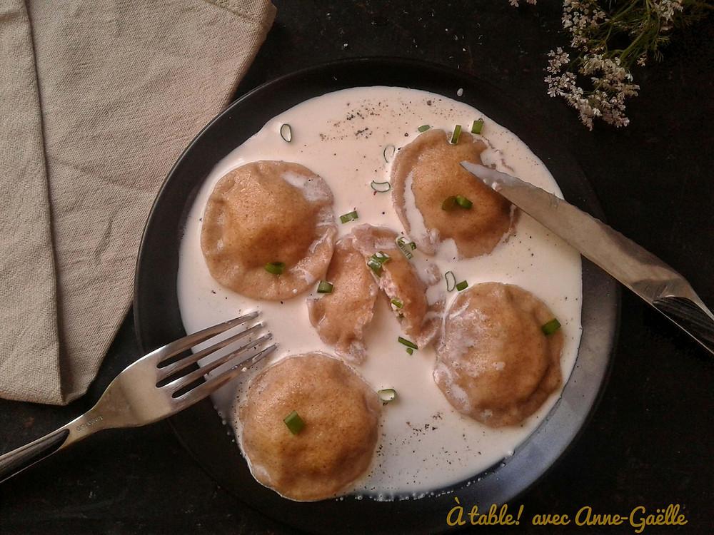 Assiette de raviolles à la pancetta