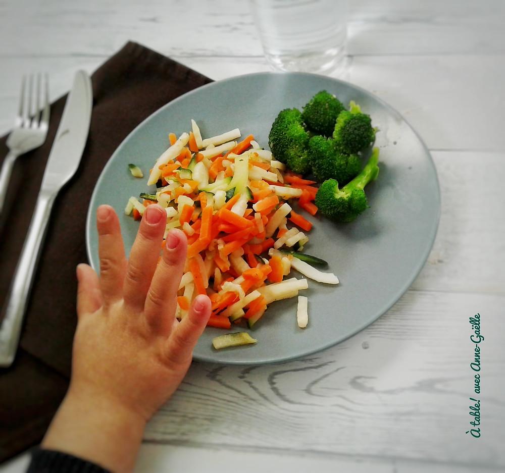 Main d'enfant qui repousse son assiette pleine de légumes.