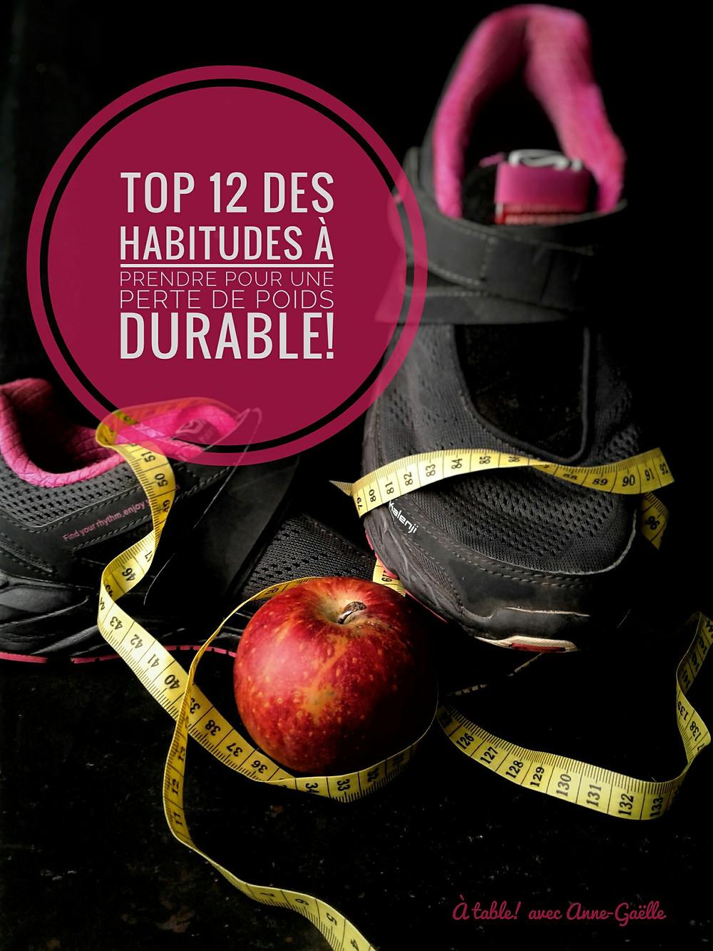 Chaussures de sport, pomme, mètre ruban, symboles de nouvelles habitudes pour perdre du poids.