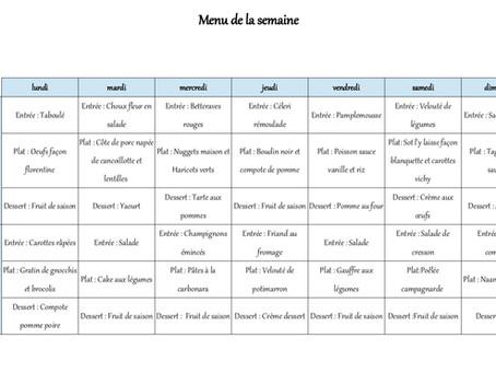 1 semaine de menus pour janvier 1