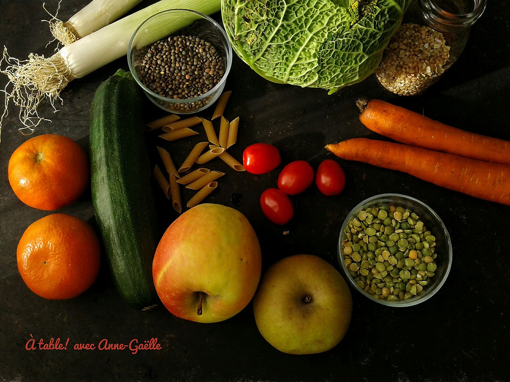 Aliments riches en fibres.