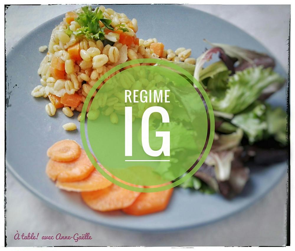 Assiette contenant des aliments dont l'index glycémique est bas.