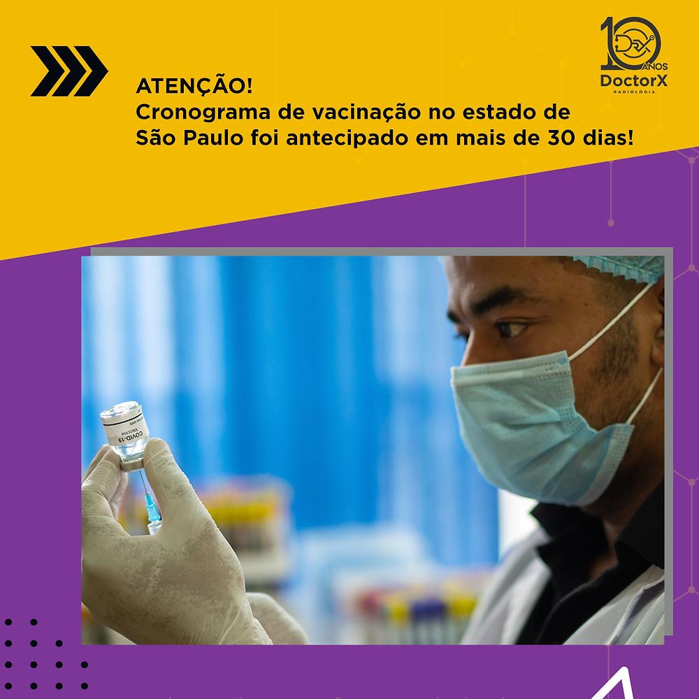 Essa semana começou com ótima noticia. São Paulo conseguiu antecipar mais uma vez o cronograma de vacinação! Até o dia 15 de setembro todos os adultos maiores de 18 anos terão recebido a primeira dose da vacina contra o coronavírus no Estado de SP.  Acompanhe os dias de vacinação, de acordo com cada faixa etária.  Pessoas de 50 a 59 anos de idade: de 16 a 22 de junho; Pessoas de 43 a 49 anos de idade: de 23 a 29 de junho; Pessoas de 40 a 42 anos de idade: 30 de junho a 14 de julho; Pessoas de 35 a 39 anos de idade: 15 de julho a 29 de julho; Pessoas de 30 a 34 anos de idade: de 30 de julho a 15 de agosto; Pessoas de 25 a 29 anos de idade: de 16 a 31 de agosto; Pessoas de 18 a 24 anos de idade: de 1º a 15 de setembro;  Fonte: Governo de São Paulo  Cada um fazendo a sua parte esse vírus não tem vez! Força Brasil