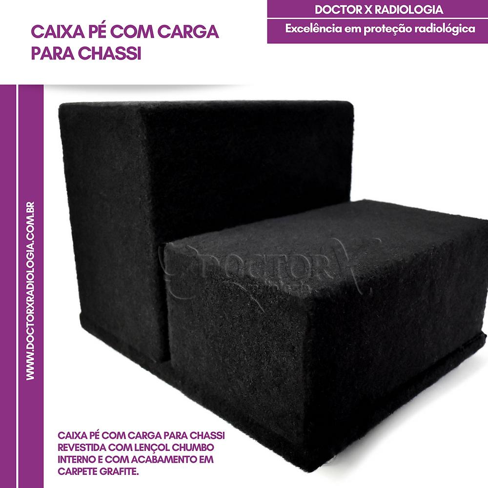 Caixa Pé Com Carga para chassi revestida com lençol chumbo interno e com acabamento em carpete grafite. Disponível nas seguintes medidas 24x30cm e 30x40cm.
