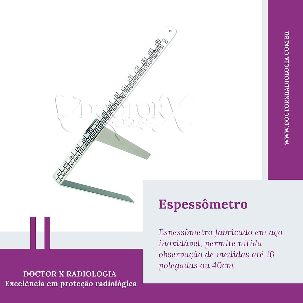 Espessômetro fabricado em aço inoxidável, que permite nítida observação de medidas até 16 polegadas ou 40cm.