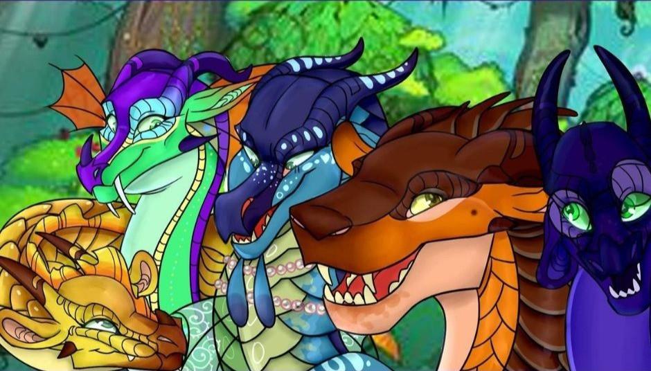 Solana, Glória, Tsunami, Lamur e Voador, os dragonetes do destino. (Foto: retirado de aminoapps.com)