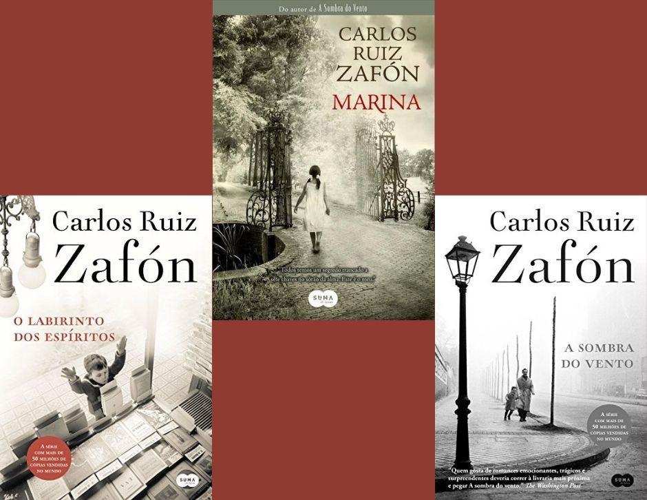escritor Carlos Ruíz Zafón e seus livros
