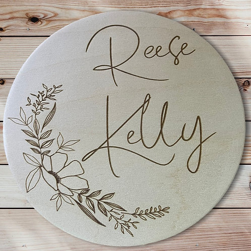 Wooden Baby Name Announcement Round