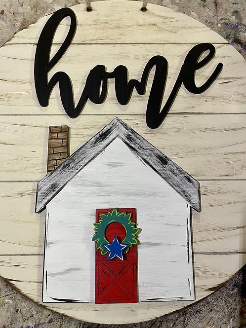 Home Door Hanger with Interchangeable Wreath