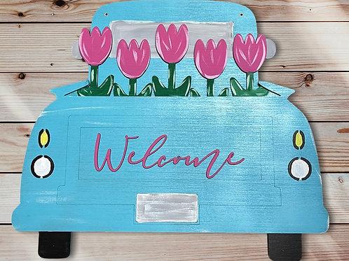Welcome Spring Flowers Truck Door Hanger