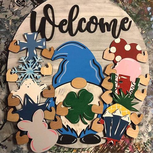 Interchangeable Welcome Gnome Door Hanger