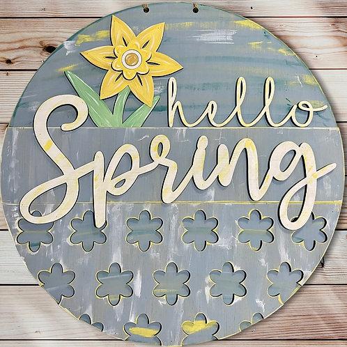 Daffodil Hello Spring Door Hanger