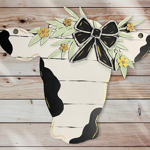 Cow with florals and bow door hanger