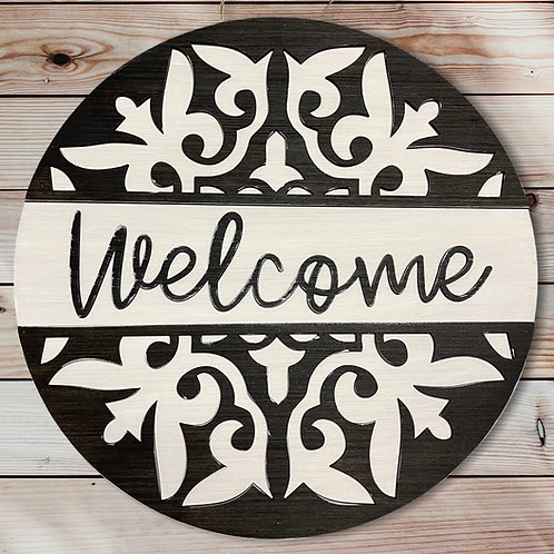 Black and White Welcome Door Hanger