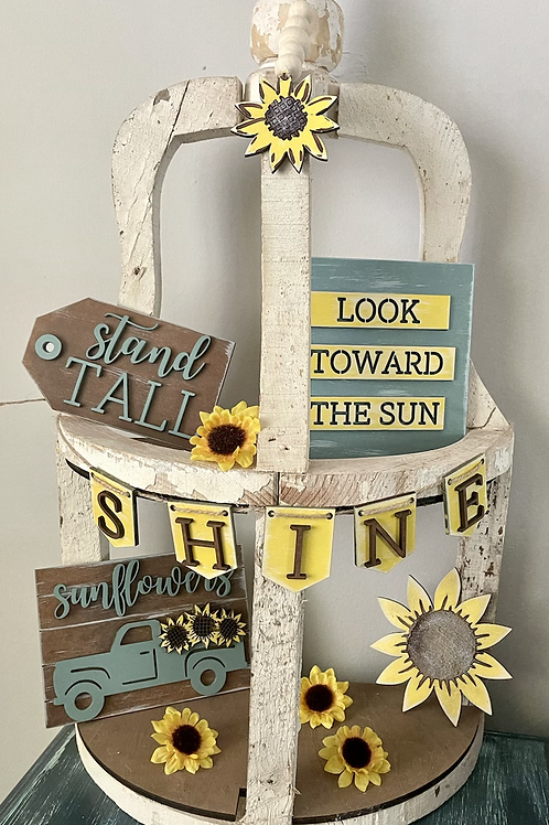 Unfinished sunflower tiered tray set