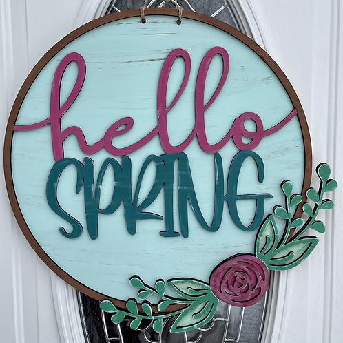Hello Spring with Florals Door Hanger
