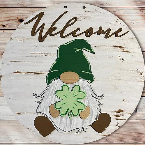 Welcome St. Patrick's Day Gnome Door Hanger