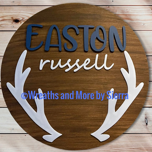 Personalized Antler Name Sign