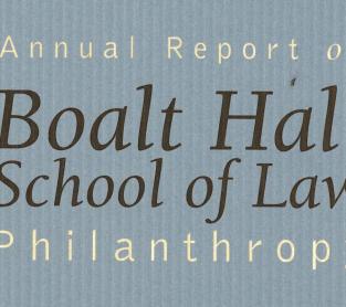 Boalt Hall School of Law Philanthropy