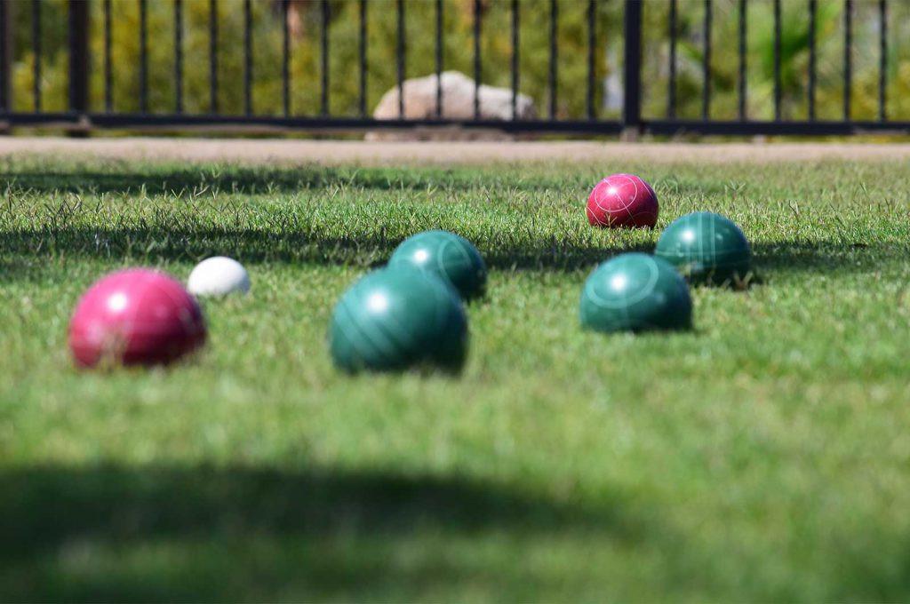 Bocce balls on grass