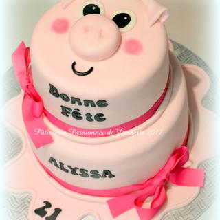 Gâteau Cochon rose