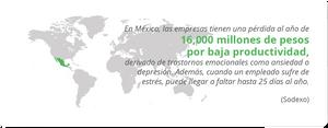 En México, las empresas tienen una pérdida al año de 16,000 millones de pesos por baja productividad, derivado de trastornos emocionales como ansiedad o depresión. Además, cuando un empleado sufre de estrés, puede llegar a faltar hasta 25 días al año. Sodexo