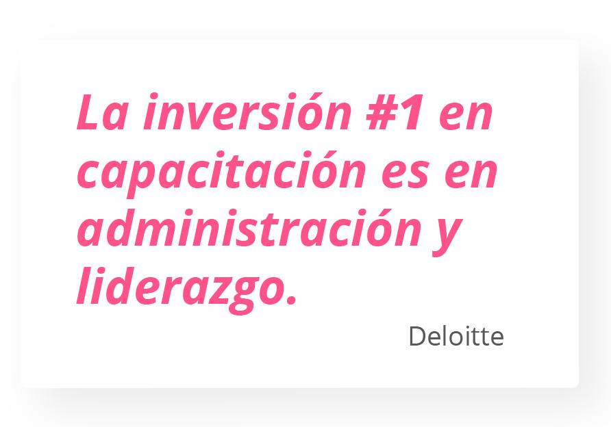 La inversión #1 en capacitación es en administración y liderazgo. Deloitte