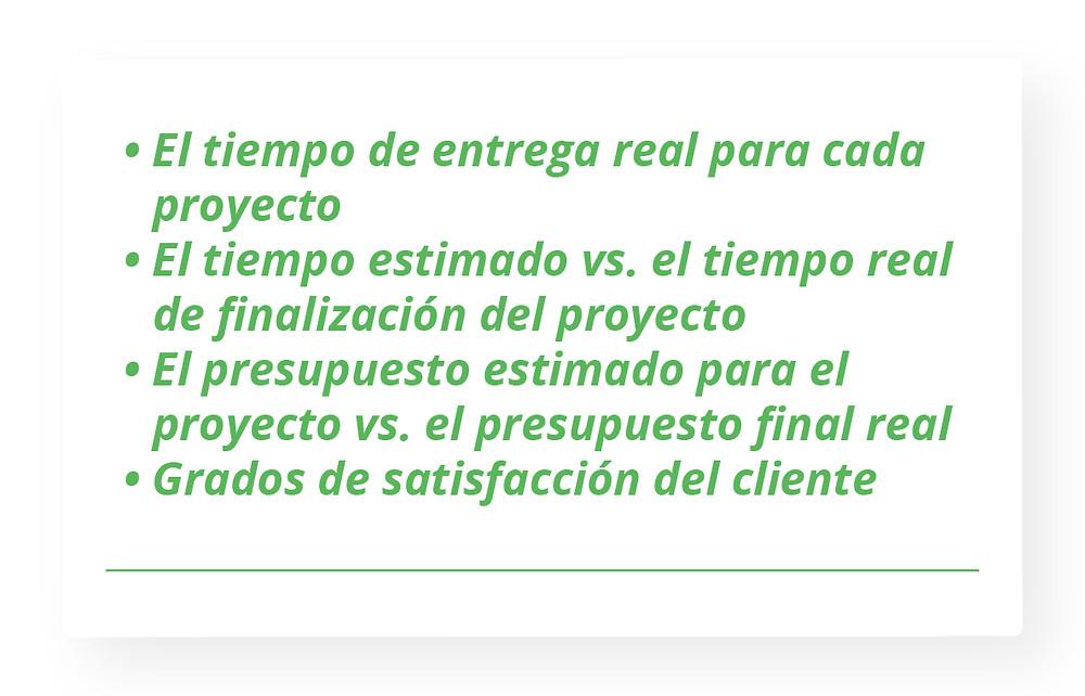 El tiempo de entrega real para cada proyecto El tiempo estimado vs. el tiempo real de finalización del proyecto El presupuesto estimado para el proyecto vs. el presupuesto final real Grados de satisfacción del cliente