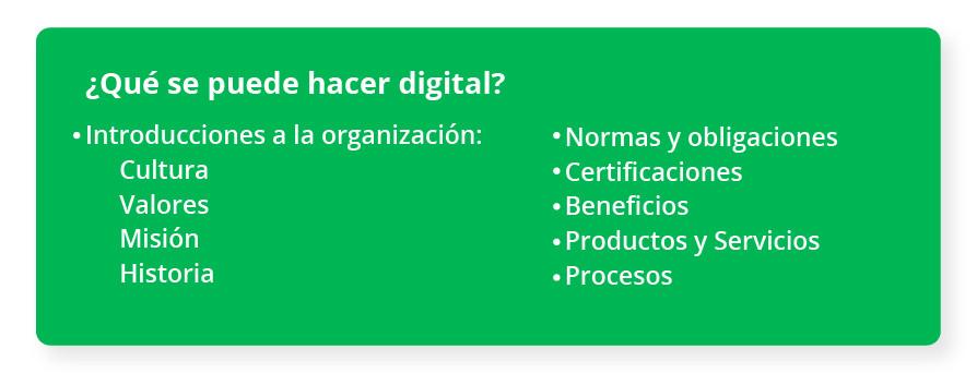¿Qué se puede hacer digital? Introducciones a la organización: Cultura Valores Misión Historia Normas y obligaciones Certificaciones Beneficios Productos Servicios Procesos