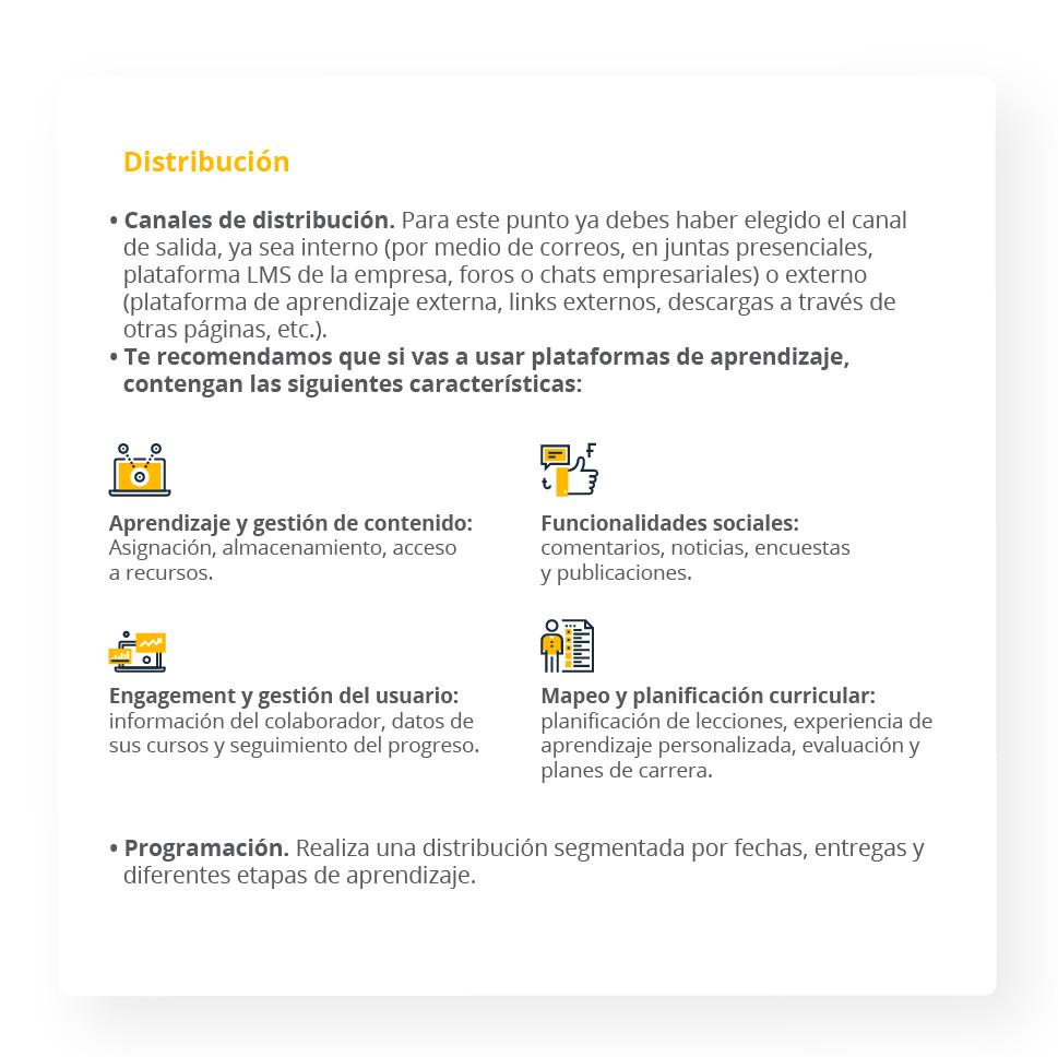 Distribución Canales de distribución. Para este punto ya debes haber elegido el canal de salida, ya sea interno (por medio de correos, en juntas presenciales, plataforma LMS de la empresa, foros o chats empresariales) o externo (plataforma de aprendizaje externa, links externos, descargas a través de otras páginas, etc.). Te recomendamos que si vas a usar plataformas de aprendizaje, contengan las siguientes características: Aprendizaje y gestión de contenido: Asignación, almacenamiento, acceso a recursos. Mapeo y planificación curricular: planificación de lecciones, experiencia de aprendizaje personalizada, evaluación y planes de carrera. Engagement y gestión del usuario: información del colaborador, datos de sus cursos y seguimiento del progreso. Funcionalidades sociales: comentarios, noticias, encuestas y publicaciones. Programación. Realiza una distribución segmentada por fechas, entregas y diferentes etapas de aprendizaje.