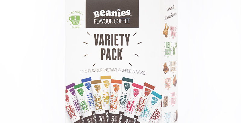 12 Flavour Variety Pack. 12 handy single servings.