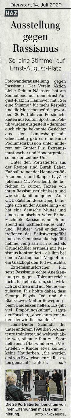 Hannoversche Allgemeine Zeitung 14.07.2020