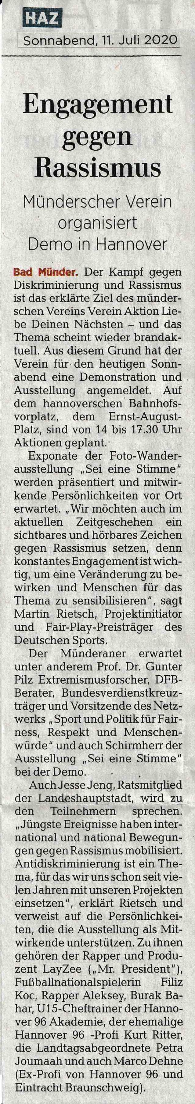 Hannoversche Allgemeine Zeitung 11.07.2020