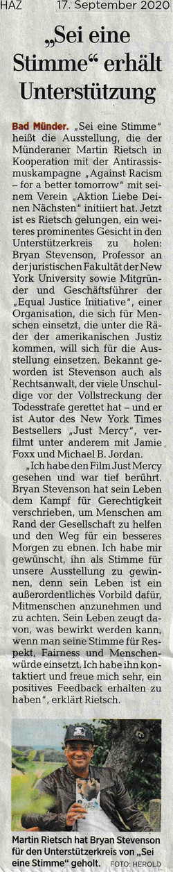 Hannoversche Allgemeine Zeitung 17.09.2020
