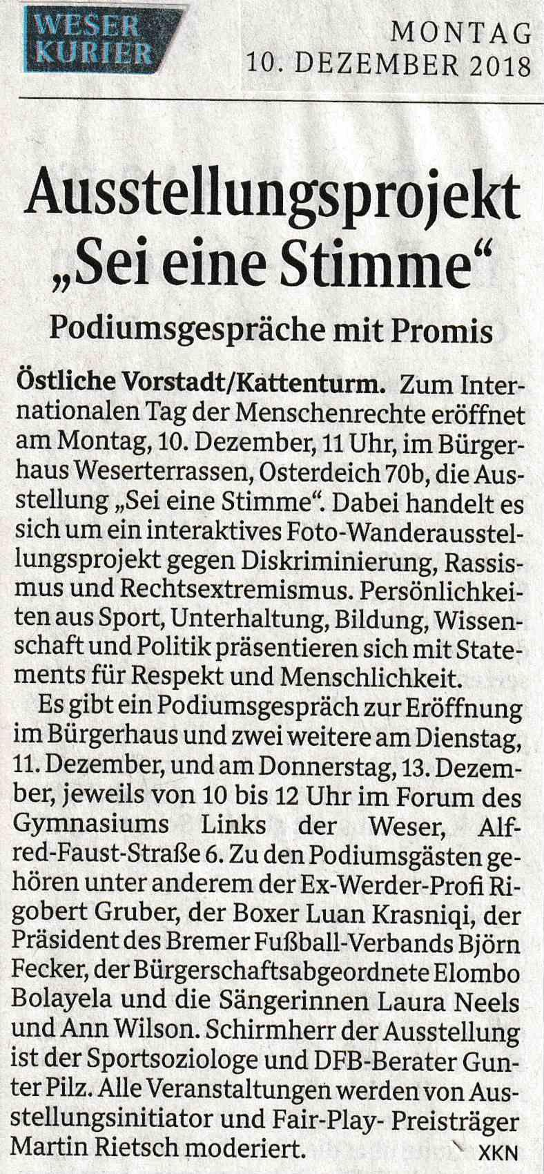 Weser Kurier 10.12.2018