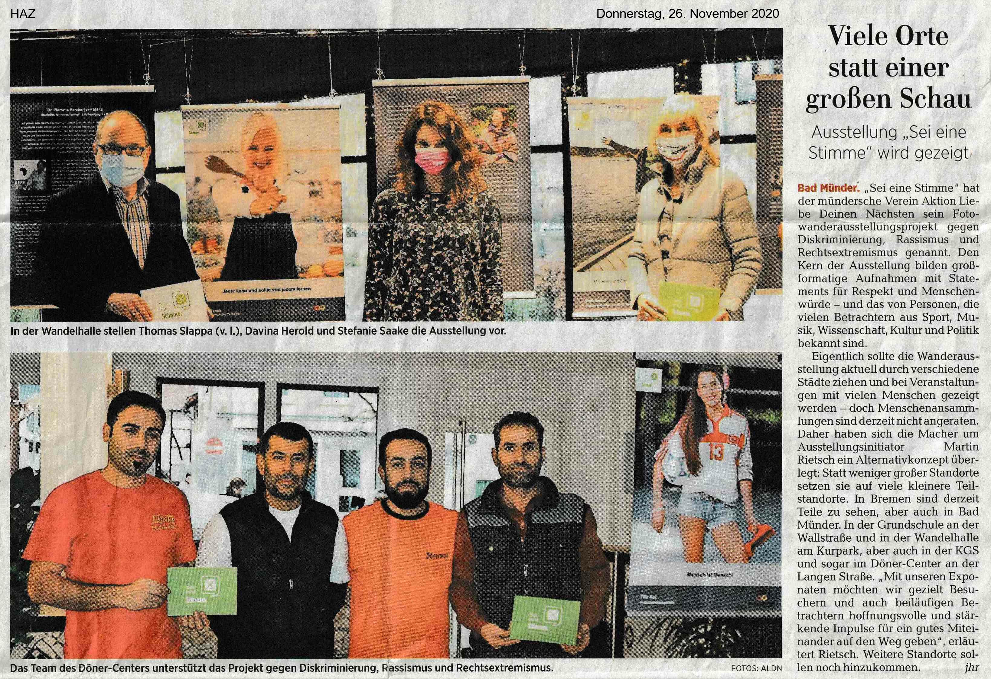 Hannoversche Allgemeine Zeitung 26.11.2020