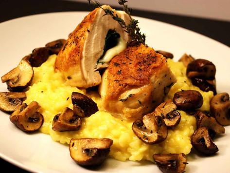 Spinach & Mozzarella Cheese Stuffed Chicken with Saffron Risotto & Mushrooms