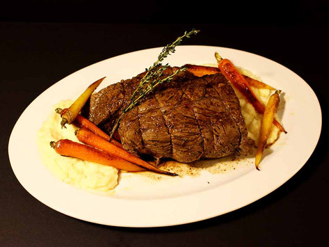 Roast Beef with Parsnip Puree and Maple Glazed Carrots