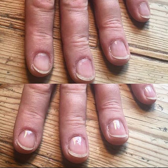 Mens manicure before (top) & after (bot)