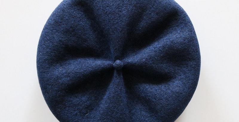 mature ha. beret top gather rib lamb -NAVY-