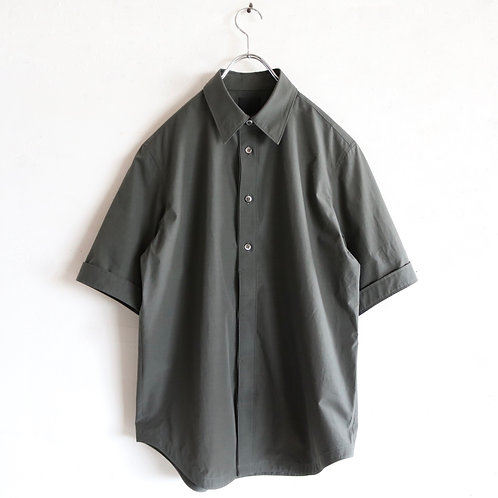 山内 ハイブリッドコットン ショートスリーブシャツ -GRAY KHAKI-