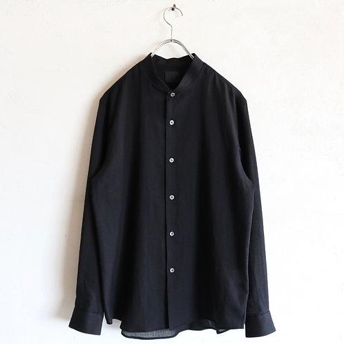 山内 フランス綾コットンシャツ -BLACK-