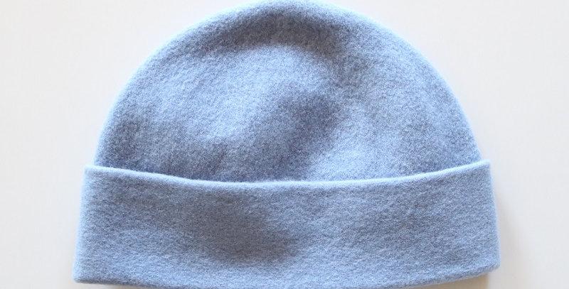 mature ha. knit felt cap cashmere & lamb -BLUE-