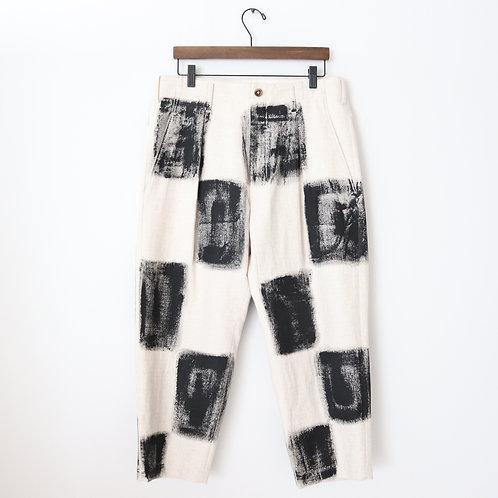 KHOKI ichimatsu painted pants -BEIGE×BLACK-