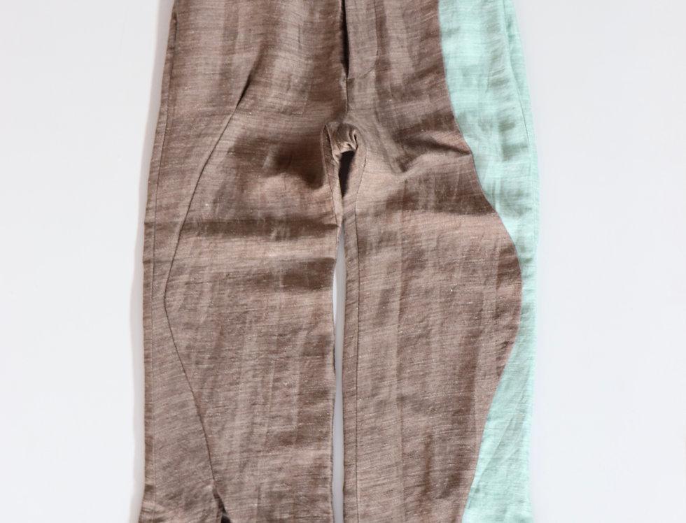 amachi. Contour Line Flare Pants -BROWN(Green Line)-