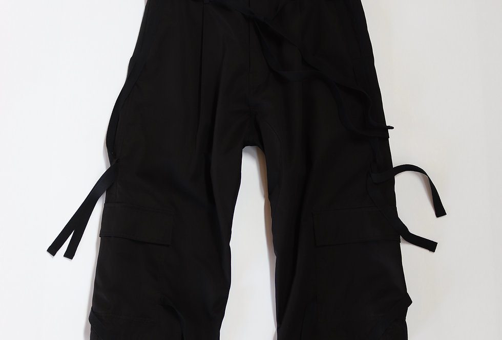 prasthana hang strings cargo trousers Black