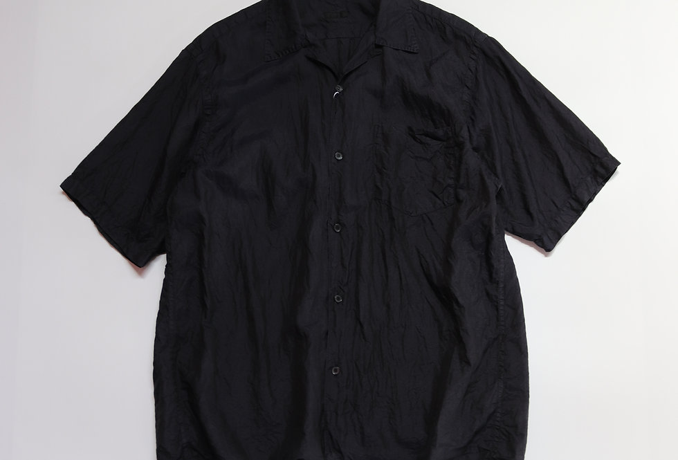 COMOLI シルク オープンカラーシャツ NAVY