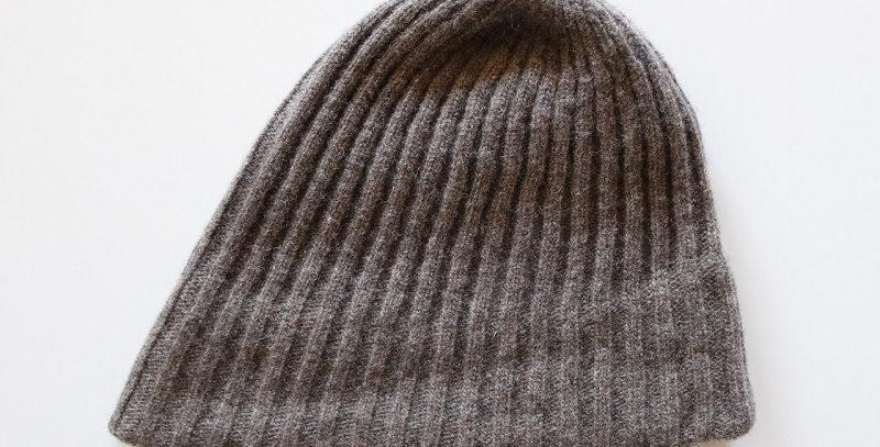 mature ha. slant cutting knit cap lamb -BROWN-